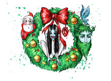 Watercolor illustration of spooky christmas wreath. Christmas wreath with witch sitting on it. Hand drawn illustration digitally colored Royalty Free Stock Images