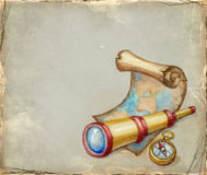 Watercolor illustration of spyglass Royalty Free Stock Photography