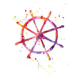 Watercolor illustration of a steering wheel. On a white background Vector Illustration