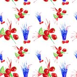Watercolor illustration of strawberry,lime and juice splash in a glass. Isolated on white background. Seamless pattern vector illustration