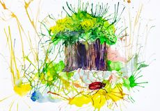 Watercolor illustration of stump on moss in the forest royalty free illustration
