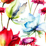 Watercolor illustration of Summer flowers. Seamless pattern Stock Photo