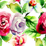 Watercolor illustration of summer flowers. Seamless pattern Royalty Free Stock Photos