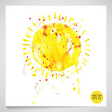 Watercolor illustration of the sun. Vector. Abstract watercolor illustration of a sun on a white background Stock Photography