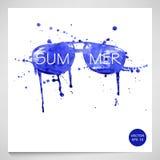 Watercolor illustration of sunglasses. Summer. Vector Vector Illustration