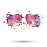 Watercolor illustration of sunglasses on a white background. Vector Stock Illustration