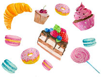 Watercolor illustration of sweets. Hand painting watercolor illustration of sweets:donuts, cakes, сupcakes Royalty Free Stock Photos