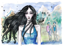 Watercolor illustration of swimming teacher with long dark hair and her students behind Stock Images