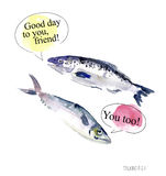 Watercolor illustration of talking funny fish Royalty Free Stock Photos