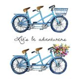Watercolor illustration of a tandem bicycles Royalty Free Stock Images