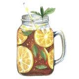 Watercolor illustration tea in mason jar vector illustration