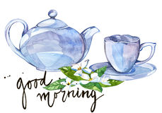Watercolor illustration Tea time with lettering-good morning Royalty Free Stock Photography