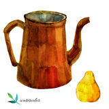 Watercolor illustration of teapot and yellow pear Stock Image