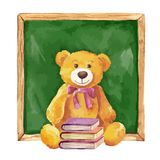Watercolor illustration. teddy bear and school board. Royalty Free Stock Image