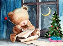 Watercolor illustration of a teddy bear writing a letter to Santa Claus. In a room with a decorated christmas tree and a starry night outside the window