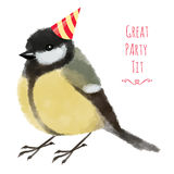 Watercolor illustration tit or titmouse in birthday hat Royalty Free Stock Images
