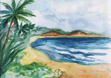 Watercolor illustration of a tropical beach stock image