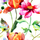 Watercolor illustration of Tulip flower. Seamless pattern Stock Photos