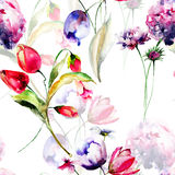 Watercolor illustration of Tulips flowers and Hydrangea flowers Royalty Free Stock Photos