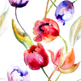 Watercolor illustration of Tulips flowers Royalty Free Stock Photography