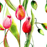 Watercolor illustration of Tulips flowers Stock Photos