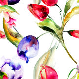 Watercolor illustration of Tulips flowers Royalty Free Stock Photos