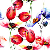 Watercolor illustration of Tulips and Poppy flowers Royalty Free Stock Images