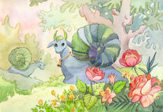 Watercolor illustration with two fantastic animals Snail - cow. In fairy forest. Childish drawing, suitable for colouring book, cover of notebook, funny Royalty Free Stock Photo