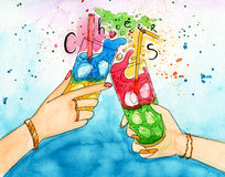Watercolor illustration of two hands friends with two coctails. Stock Photography