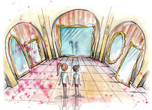 Watercolor illustration of two kids standing in a hall of mirrors Stock Image