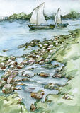 Sailing boats on the river watercolor illustration. Watercolor illustration of two sailing boats on the river vector illustration