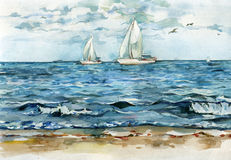 Yachts driftind in the quiet blue sea watercolor illustration. Watercolor illustration of two sailing yachts drifting in the quiet blue sea vector illustration
