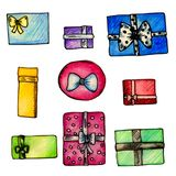 Watercolor set of multi-colored wrapped gifts vector illustration
