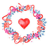 Watercolor illustration for Valentine's day with flower wreath and heart Royalty Free Stock Image
