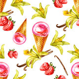 Watercolor illustration of vanilla and strawberry ice cream. Seamless pattern Stock Photography