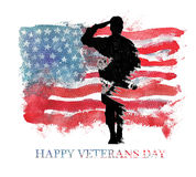 Watercolor illustration.Vegterans day. America, USA flag. Text Happy Veterans Day royalty free illustration