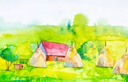 Watercolor illustration of a village house and haystacks with a doghouse in the foreground. Green forest in the background.  royalty free illustration