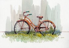 Watercolor illustration of vintage bicycle. Hand painted watercolor painting of vintage bicycle against wood wall royalty free illustration