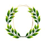 Watercolor illustration of a vintage wreath of branches. vector illustration