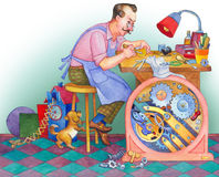 Watercolor Illustration. Watchmaker At His Workshop Stock Photography