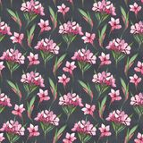 Watercolor seamless pattern of pink flowers and green leaves Royalty Free Stock Photo