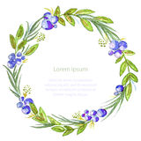 Watercolor illustration wedding invitation card with blueberries, vector Stock Photos