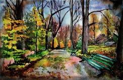 Watercolor illustration. Wet autumn alley. Park Sofiyivka, Ukraine Uman.2014 -  watercolore etude Royalty Free Stock Images
