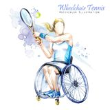 Watercolor illustration. Wheelchair Tennis sport. Figure of disabled athlete in the wheelchair with a racket. Active. People. Woman. Disability and social royalty free illustration