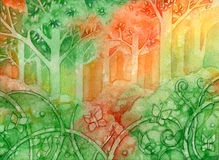 Butterflies Forest. Watercolor illustration of a whimsy colorful forest and butterflies vector illustration