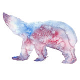 Watercolor illustration of a white bear silhouette Stock Images