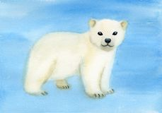 Polar bear on ice. Watercolor illustration of white polar bear on ice stock illustration