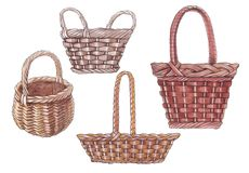 Watercolor illustration of wicker baskets. stock images