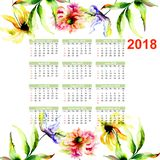 Watercolor illustration with wild flowers. Watercolor illustration of wild flowers, 2018 calendar Stock Images