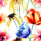 Watercolor illustration with wild flowers Royalty Free Stock Photo
